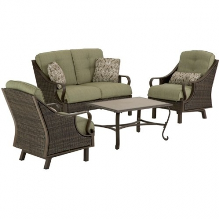 Hanover VENTURA4PC Ventura 4-Piece Indoor/Outdoor Lounging Set, Includes Wicker Loveseat, 2 Lounge C