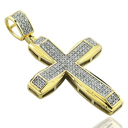 0.33ctw Real Diamond Cross Charm for Mens 10K Real Gold 1.65inch Tall(i2,i3/i,j)