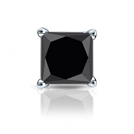 14k Gold 4-Prong Basket Princess Black Diamond SINGLE STUD Earring (1/4 – 2 ct, Black) Push-Back