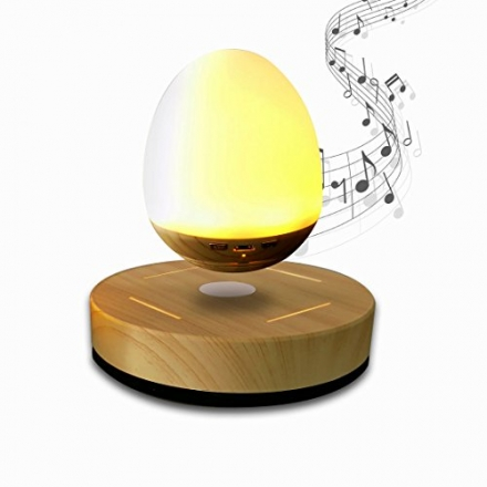NASKY Maglev Levitation Speaker with Wood Grain Base LED Bulb Portable Wireless Smart Floating LED N