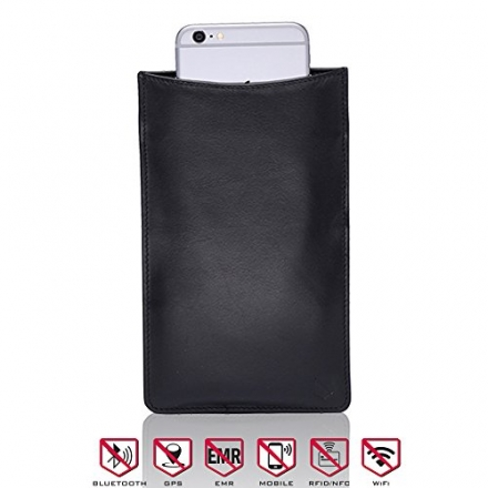 Cell Phone & Tablet Sleeve – Genuine Black Leather Sleeve Perfect For Blocking All Wireless Signal,