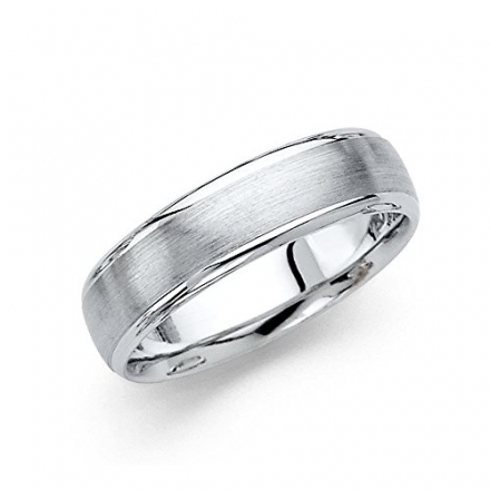 Wellingsale® 14k White Gold Polished Satin 6MM Rounded Edge Comfort Fit Wedding Band Ring