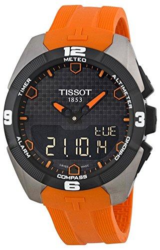Tissot Men's Quartz Titanium and Silicone Casual Watch, Color:Orange (Model: T0914204705101)