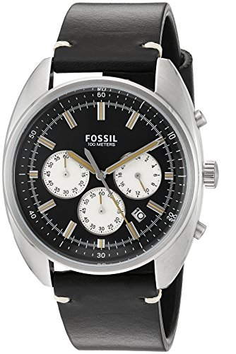 Fossil Men's Quartz Stainless Steel and Leather Automatic Watch, Color:Black (Model: CH3043)