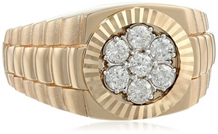 Men's 10k Yellow Gold with High Polished Finish Diamond Cluster Ring (1/2 cttw, H-I Color, I1-I2 Cla