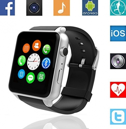 Martheroll GT88 Bluetooth NFC Smart Watch with Built-in Heart Rate Monitor, Touch Screen and Magneti