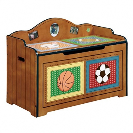 Fantasy Fields – Lil' Sports Fan Thematic Kids Wooden Toy Chest with Safety Hinges | Imagination Ins