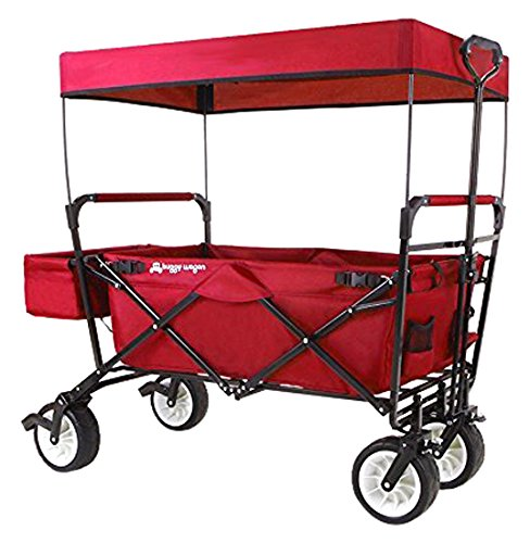 Everyday Sports High-End New 4th Generation Outdoor Utility Collapsible Folding Wagon with Canopy &