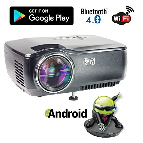 Wifi Bluetooth Projector, B2COOL Android 4.4 mini portable projector 1200 Lumens HD 1080p Projection
