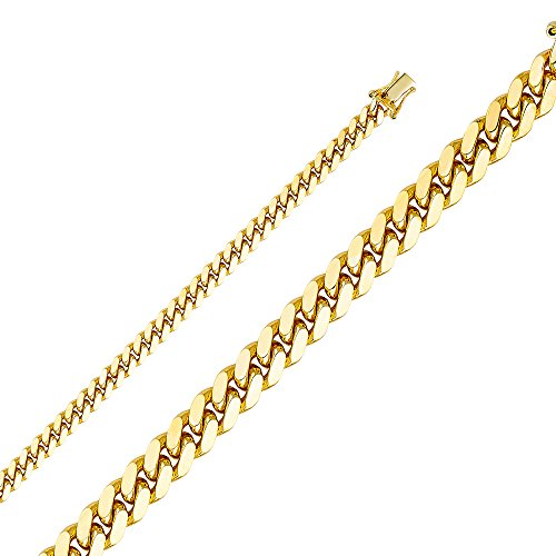 Wellingsale® 14k Yellow Gold SOLID 5.5mm Polished Miami Cuban Concaved Curb Chain Necklace