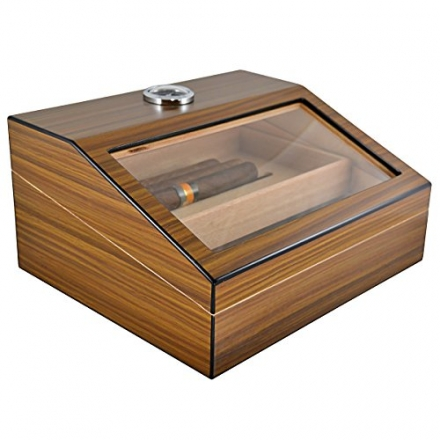 La Cubana Cigars Glass and Wooden Cigar Humidor High quality Luxury Cigar Box Holds 50 cigars with N