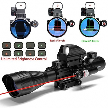 UUQ C4-12X50 AR15 Rifle Scope Dual Illuminated Reticle W/ Red Laser and Holographic Dot Sight (12 Mo