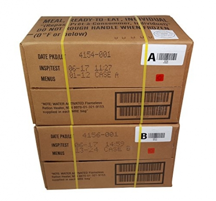 ULTIMATE MRE Case A and Case B Bundle, 24 Meals with 2017 Inspection Date. Military Surplus Meal Rea