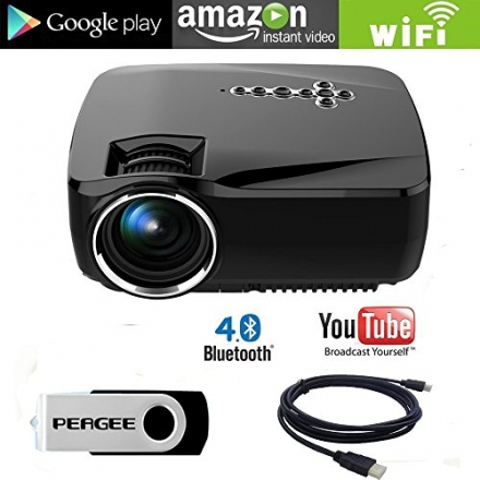 Mini Projector Wifi Bluetooth for Android, Peagee Wireless Home Theater Projector Small Portable 120