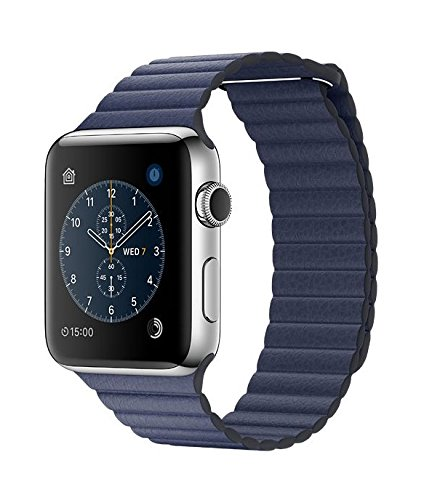 Apple Watch Series 2 STAINLESS STEEL CASE 42mm (Stainless Steel Case/ Midnight Blue Leather Loop)