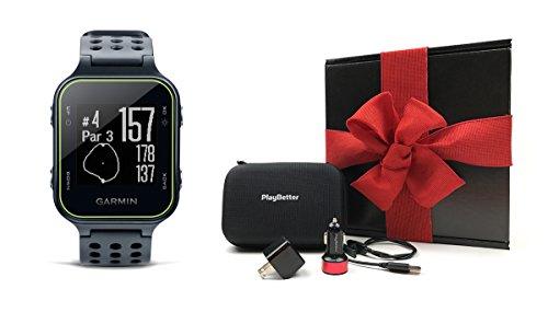 Garmin Approach S20 (Slate) GIFT BOX | Bundle includes Golf GPS Watch, PlayBetter USB Car & Wall Cha