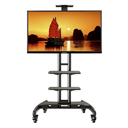 """Mobile TV Cart TV Stand with Mount and Adjustable Shelves for 37"""" – 60 inch (fits 32""""- 65"""") Flat"""