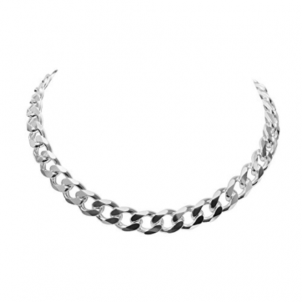 Solid Sterling Silver Link Cuban Curb Chain Necklace Italian – 1.7mm to 10.7mm Width