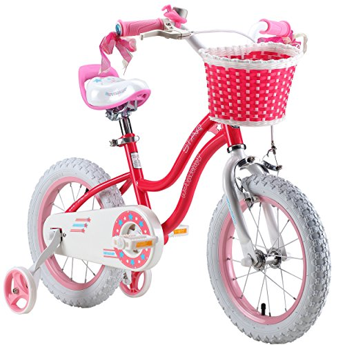 RoyalBaby Stargirl Girl's Bike with Training Wheels and Basket, Perfect Gift for Kids. 12 Inch, 14 I