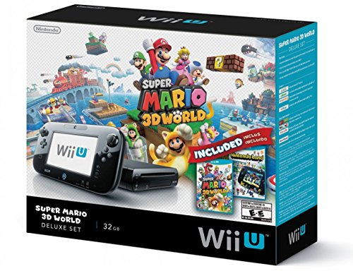 Nintendo Wii U Deluxe Set: Super Mario 3D World and Nintendo Land Bundle – Black 32 GB