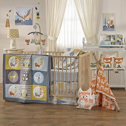 Lolli Living Woods 4-Piece Crib Bedding Set – Colorful Bedding Coordinates For Baby Nursery, Made Fr
