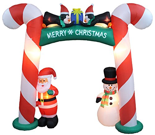8 Foot Tall Lighted Christmas Inflatable Candy Cane Archway with Santa Claus Snowman Penguins and Gi