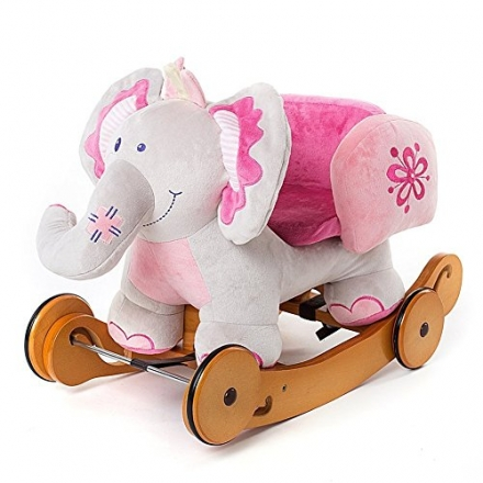 Labebe Christmas Gift for Baby Rocking Horse Plush Animals Elephant (Pink)
