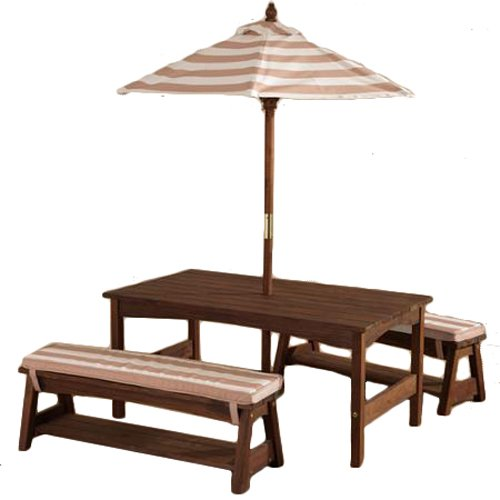 KidKraft 00 Outdoor Table and Bench Set with Cushions and Umbrella, Espresso with Oatmeal and White