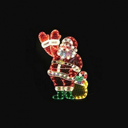 NorthLight 48 in. Holographic Lighted Waving Santa Claus Christmas Yard Art Decoration