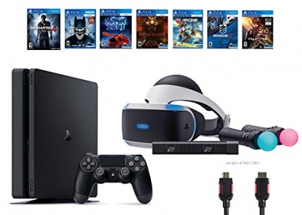 PlayStation VR Start Bundle 10 Items:VR Start Bundle,PS4 Slim- Uncharted 4,6 VR Game Disc Until Dawn