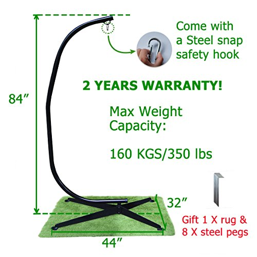 350 lbs Max Weight Capacity Zupapa Heavy Durable Steel C Hammock Frame Stand -84″ Total Height Works