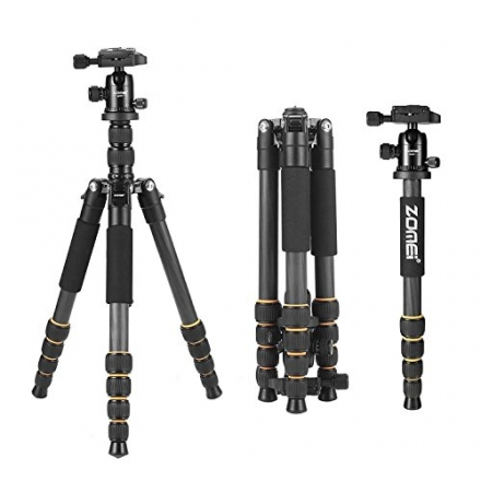 ZOMEI Q666C Carbon Fiber Tripod Monopod Lightweight Travel with Ball Head Compact for Canon Sony, Ni