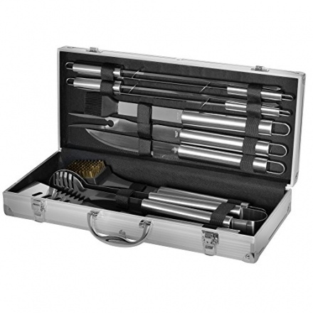 Grill Heat Aid Stainless Steel Grilling Accessories Set Complete Tool Kit with Scraper, Brush, Meat