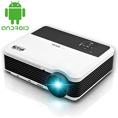 EUG Wireless Projector LED LCD Support Full HD 1080P 720P, WiFi HDMI USB VGA Ready, for Home Theater