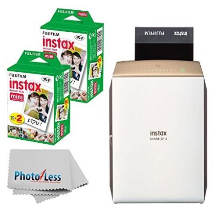 NEW Fujifilm instax SHARE Smartphone Printer SP-2 (Gold) + Fujifilm Instax Mini Twin Pack Instant Fi
