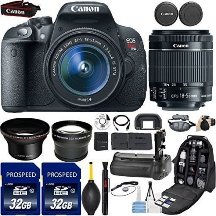 Canon EOS Rebel T5i DSLR Camera with 18-55mm IS STM Lens + Kit Includes, 58mm HD Wide Angle Lens + 2