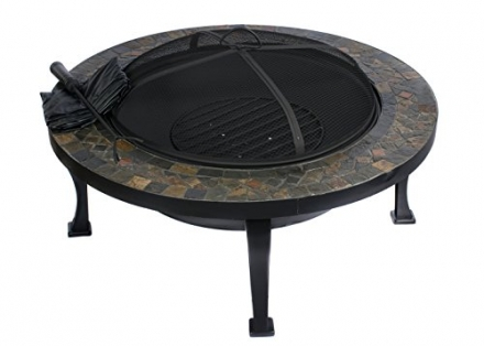 HIO 34-Inch Natural Slate Top Outdoor Fire Pit with Spark Screen, Steel Wood Grate, Protective Cover