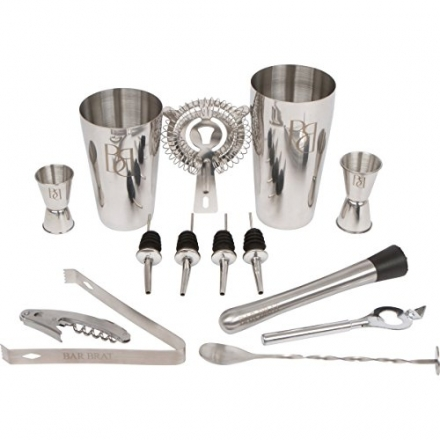 Premium 14 Piece Bar Set Cocktail Drink Shaker Kit / Free 110 Cocktail Recipes (Ebook) Included / Ma