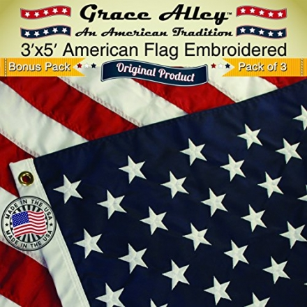 American Flag Bonus 3 Pack 3×5 ft. Quality Embroidered Stars and Sewn Stripes