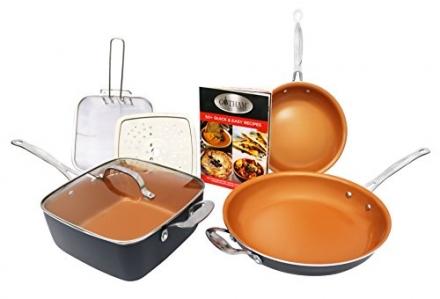 Gotham Steel Tastic Bundle 7 Piece Cookware Set Titanium Ceramic Pan, Copper