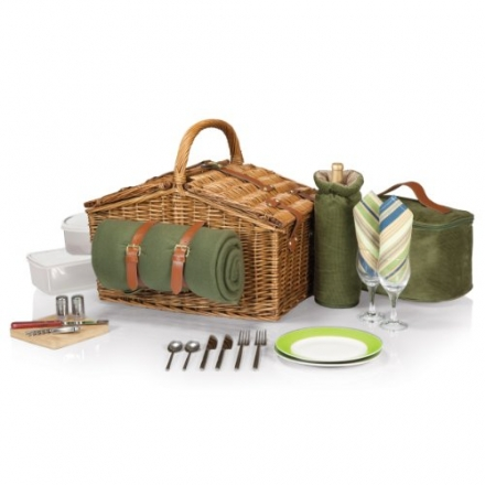 Picnic Time 'Somerset' English-Style Double Lid Willow Picnic Basket with Service for 2