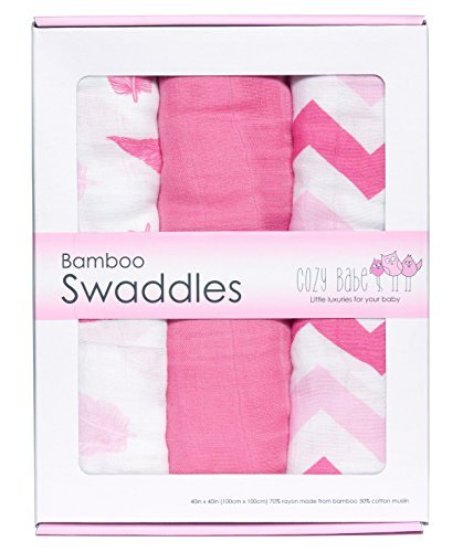 Bamboo Muslin Swaddles – 3 Pack – Softest Muslin Swaddle Blankets – Pink – Swaddle Blanket by Cozy B