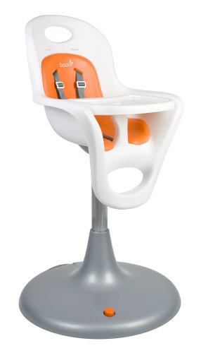 Boon Flair Pedestal Highchair with Pneumatic Lift,White/Orang