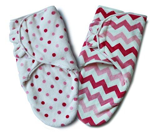 Bisdis baby swaddle wrap – super soft adjustable blanket – set of 2 (pink)