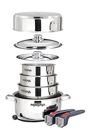 Magma Products, A10-360L-IND, 10 Piece Gourmet Nesting Stainless Steel Cookware Set, Induction Cookt