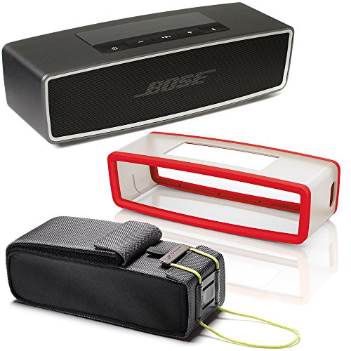 Bose SoundLink Mini II Bluetooth Wireless Speaker – Carbone w/ Red Soft Silicon Cover & Travel Bag -
