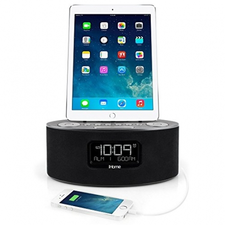 iHome iDL46 Lightning Dock Clock Radio and USB Charge/Play for iPad/iPod and iPhone 5/5S and 6/6Plus