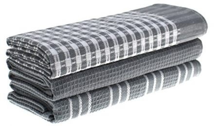 Lifaith Cotton Classic Kitchen Collection Dish Towels, Pack of 3, 18 x 25-Inch, Grey Stripes