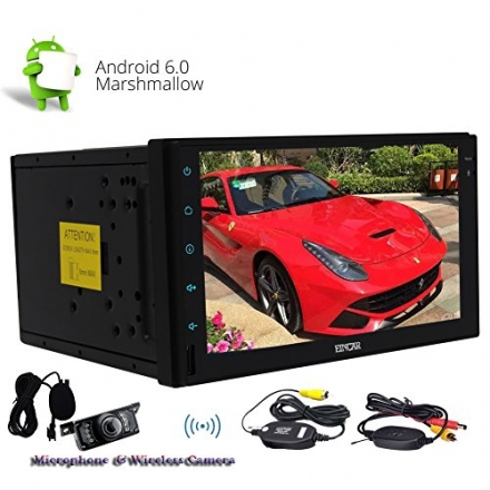 Wireless Camera include Quad-core Stereo Autoradio Double din Android 6.0 Marshmallow Autoradio Blue