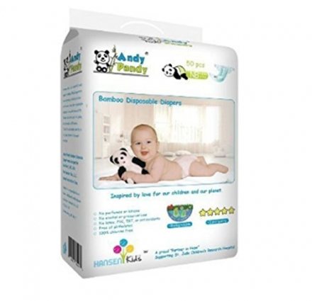 Andy Pandy Biodegradable Bamboo Disposable Diapers, Newborn, 50 Count of Pack, New for Baby